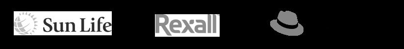 sun life, rexall, red hat logos